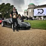 Motor editor with his steed for the Goodwood Festival Of Speed, the Porsche Carrera GT