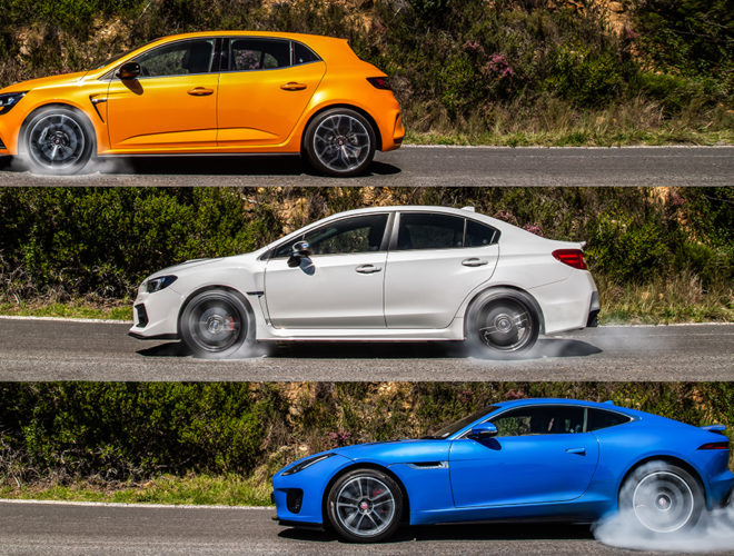 Tested: F-Type vs WRX vs Megan RS